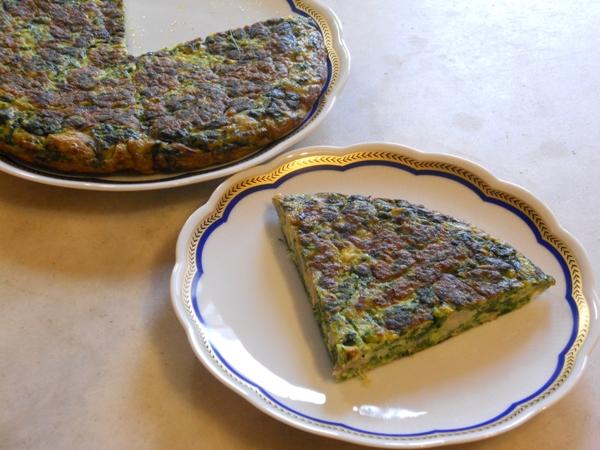 Frittata di spinaci e fagioli cannellini