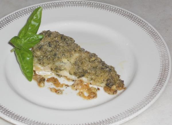 Filetti di gallinella gratinati al basilico e mandorle