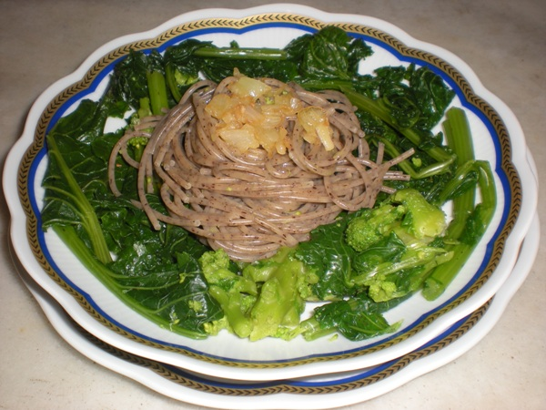 Spaghetti di grano saraceno con cime di rapa