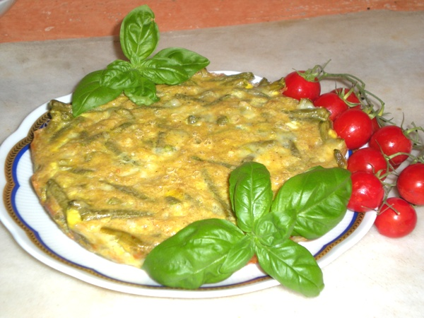 Tortino di fagiolini con ricotta salata e basilico